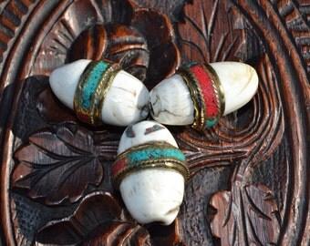 Chunky Naga shell pendant bead with turquoise & coral resin inlay  SH154