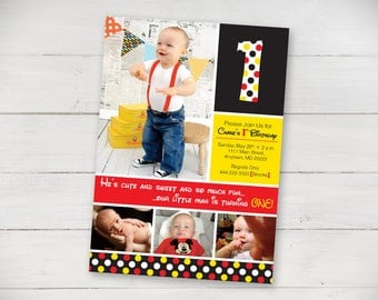 Disney Inspired Polka Dots 1st Birthday Invitation - Digital File