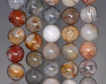 8mm Bamboo Agate Gemstone Inclusion Round 8mm Loose Beads 7.5 inch Half Strand (80002621 H-802)