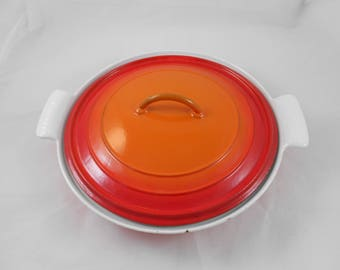 Descoware FE25 Cast Iron Enamelware Divided Baking Dish with Lid Cherry Flame