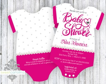 Baby Shower Invitation - Die Cut - Shaped Baby Girl Shower Invitation - 5x7 - Set of 20 - Heart of Love