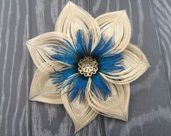Ivory Peacock Feather Flower with iridescent blue center