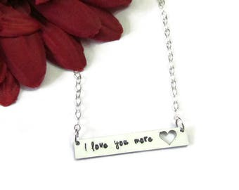 Personalized bar Necklace- I love you more necklace - heart necklace -Gift for Mother's - gift from daughter - hand stamped - gift boxed
