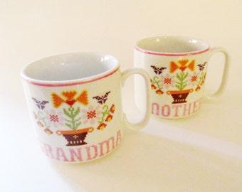 Vintage Pair of Mother and Grandmother Mugs, Folk Art Mug, Americana Sampler Mugs, Gifts for Her, Coffee Mugs, Tea Mugs