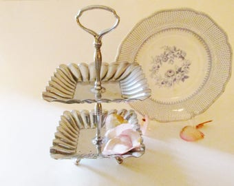 Vintage Two-Tiered Stand, Sweet Stand, Tea Party Decor, Kitchen Decor, Chrome Stand, Soap Dish, Jewelry Stand