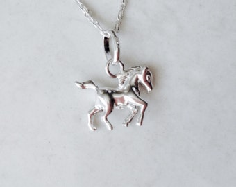 Horse riding pendant, pony club pendant, black beauty, solid silver arab pony charm, thoroughbred horse necklace - sterling silver (925)