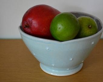 Serving Bowl, Salad Bowl, Fruit Bowl, Wheel thrown porcelain Everyday Bowl Falling Leaves Dot pattern, Everything Bowl, Mixing Bowl
