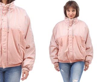 Vintage PUFFER Jacket . 90s Retro Rose Jacket Warm Drawstring Turtleneck Zip Up Coat Hipster 80s Vintage Spring Jacket . Large
