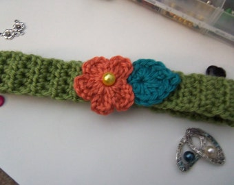Handmade Crochet Flower Headband. Child's Crochet Flower Headband.