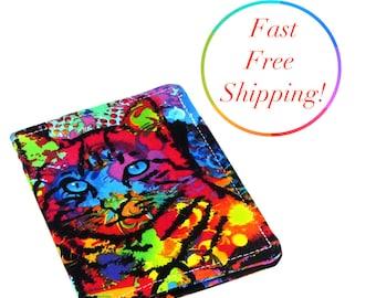 Watercolor Cat Wallet, Womans Wallet, Travel Wallet, Minimalist Wallet, Credit Card Holder, Credit Card Wallet, Wallets For Women