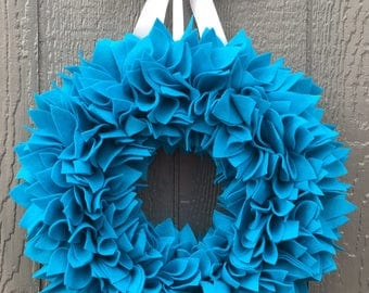 Spring Wreath - Turquoise Wreath - Blue Wreath - Aqua Wreath - Felt Wreath - Summer Wreath - Rag Wreath - Door Wreath - Large Wreath