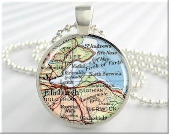Edinburgh Map Pendant Resin Charm Edinburgh Scotland Travel Map Necklace Picture Jewelry (416RS)