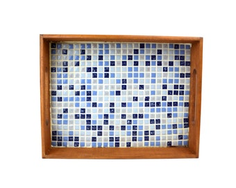 Mid-Century Mosaic Tile Serving Tray // Retro Vintage Wood Handled Tray with Blue & Gray Tiles