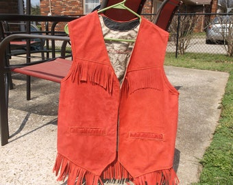 Faux Suede Leather Red Vest, Lined, lined pockets, Fringe In Front, Back & Bottom, Hand Made Machine Sewn, Mens' Or Ladies, wears open