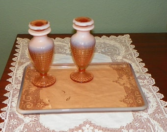 Vintage 2 Perfume Bottles and Dresser TRAY Scent deco glass Opal opalescent peach ribbed optic pedestal foot
