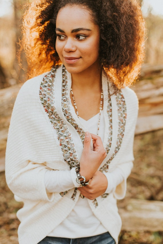Ivory Sweater Knit Kimono Cardigan