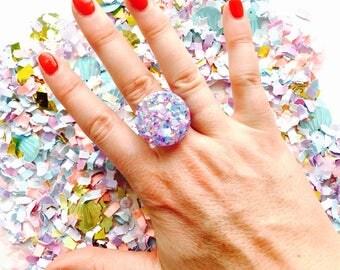 Fairy Glitter Resin Ring - Adjustable