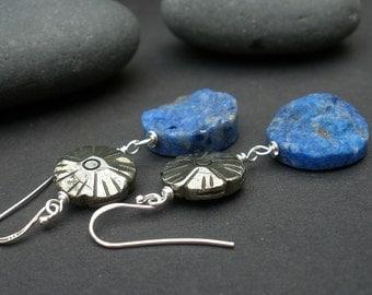 Lapis Lazuli and Pyrite Dangle Earrings, 925 Sterling Silver, Denim Dangle Earrings, Boho Earrings