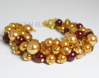 Gold & Red Pearl Bracelet, Golden Cluster Pearl Bracelet, Wine/Gold Chunky Bracelet, Gold Pearl Bracelet, Red Pearl Bracelet, Gold Jewelry
