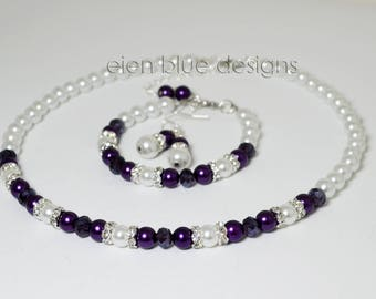 White and Purple Pearl Necklace, White Pearl Jewelry set, Purple & White Beaded Necklace, White and Purple Wedding, Purple Pearl Jewelry Set