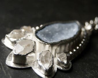 Radiant Light - Sky Blue Druzy Geode and Clear Herkimer Diamond Necklace in Sterling Silver...ooak