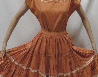 50s Thunderbird Fashions Skirt Set Metallic Bronze Full Circle Midi Skirt Top Patio Squaw Dress Western Dance Vintage Size 12