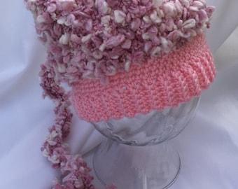 Crocheted Pixie Hat - Photo Prop - Long Tail Pixie Hat - Light Pink Texture Pixie Hat -