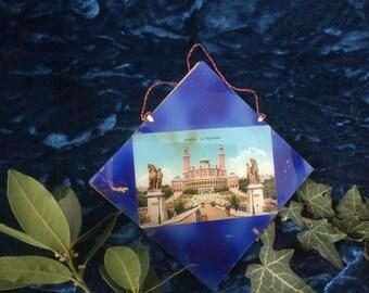 French vintage Paris Le Trocadero 1900 Vintage post card Ephemera under glass antique Souvenir from Paris