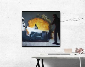 Fire-art print, oil on canvas, large wall decor, formula 1,car racing, wall prints