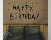 Stranger Things Inspired Birthday Greeting Card Watercolor Painting Hand Painted