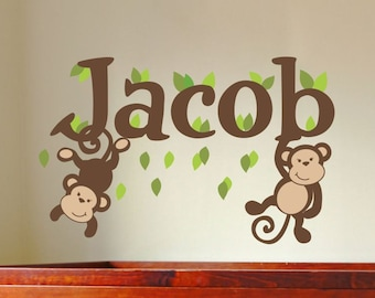 Monkey Name Decal Boys Name Decal Boys Name Wall Decal Baby Boy Nursery Monkey Wall Decal Monkey Decal Nursery Wall Decal Nursery Wall Decor