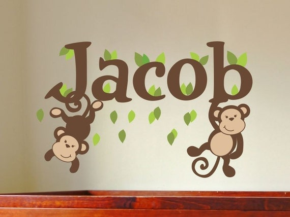 monkey name decal boys name decal boys name wall decal baby. Black Bedroom Furniture Sets. Home Design Ideas