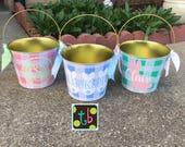 Last one!!! Personalized Monogram Bunny Gingham Preppy Easter Basket Bucket