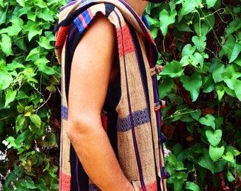 Tribal Mens Hoodie Vest With Fringe In Tan And Blue Authentic Tribal Naga Waist Coat - Derek