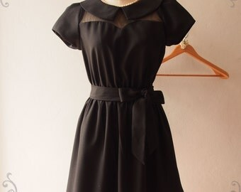 Black Collar Dress, Black Peter Pan Collar with Sleeve Long Midi Dress Fairy Tale Inspired, lbd Black Summer Dress, XS-XL,Custom