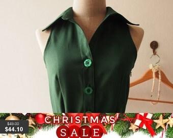 Christmas SALE DOWNTOWN - Midi Dress, Skater Dress, Summer Dress, Forest Green Shirt Dress, Green Bridesmaid Dress, Christmas Dress, Skat...