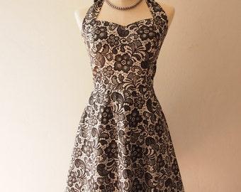 Romantic Black Summer Dress Lace Print Skater Swing Dress Vintage Inspired Little Black Dress Tea Party Prom Dress -XS-XL, Custom