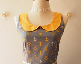Vintage-Style Fashion Dress Nautical Dress Peter Pan Collar Vintage Sundress Yellow Summer Dress La La Land Style Dress