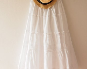 Maxi Skirt White Wedding Skirt Boho Chic Bohemian Skirt Beach Long Skirt White Summer Skirt  - No.5