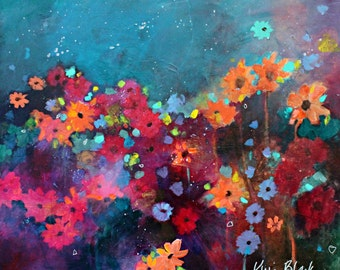 "Abstract Floral Painting, Original Acrylic Painting, Colorful, Bold, Flowers, ""Garden Party"" 20x24"