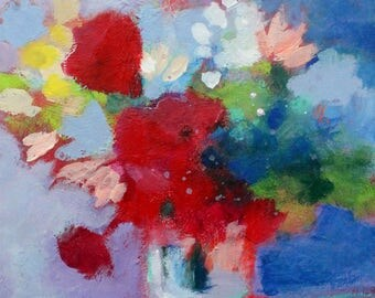 Small Floral Still Life Painting, Abstract Flowers, Red, Colorful Bouquet 8x10""