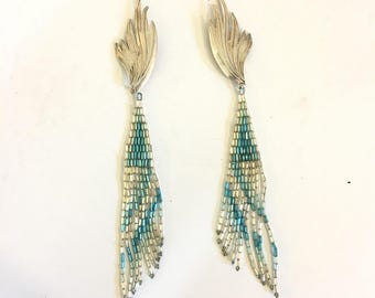 Vintage Silver Dangle Earrings Silver Lined Bugle Beads Turquoise Blue Clip or Wire Style