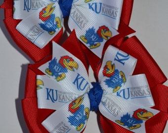 Set of Two Kansas University Jayhawks Hair Bows Basketball KU