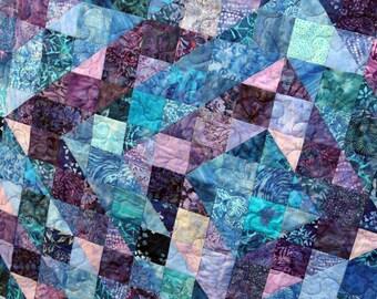 Blue & Purple Batik Patchwork Quilt, Double / Twin by PingWynny