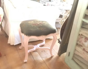 Needlepoint stool antique roses queen ann legs  victorian prairie shabby chic cottage chic