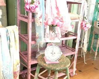 Reserved sold layaway Pink vintage scale farmhouse shabby chic prairie cottage