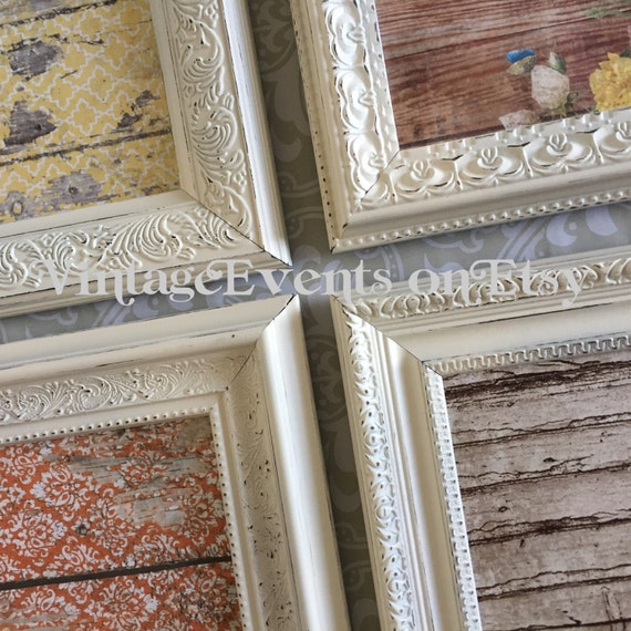 Four 8x10 vintage style picture frames shabby by vintageevents for Small vintage style picture frames