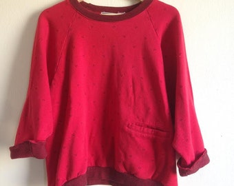 Yellow Cab Co Red Raglan Vintage Crewneck with Front Pocket