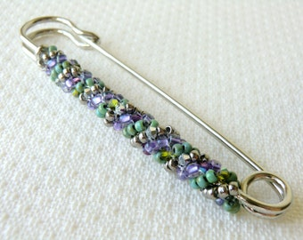 Large Safety Pin Brooch with Swarovski Crystals Decorative Brooch Winter Kilt Pin in lilac, green and Silver Colors