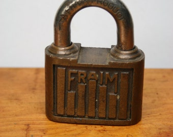 Vintage Fraim Brass Case Padlock with Key